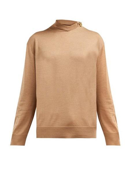 Calvin Klein 205w39nyc - Brooch Detail Merino Wool Blend Sweater - Womens - Camel