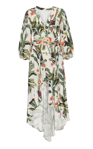 PatBO Tropical Print High-Low Romper in white