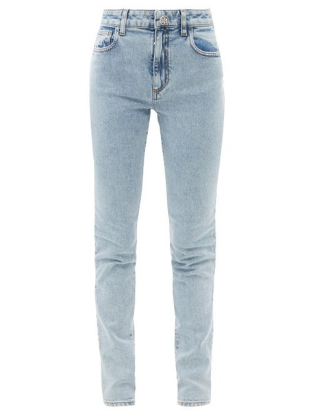 Alessandra Rich - Crystal-button High-rise Acid-washed Denim Jeans - Womens - Light Blue