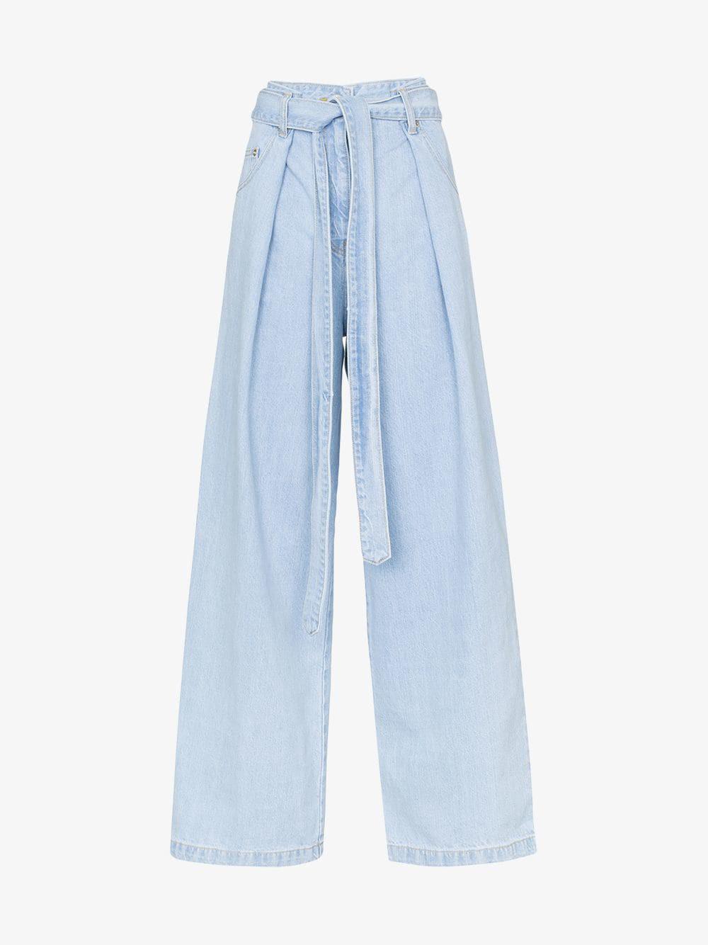 Juun.J Wide-leg pleated jeans in blue