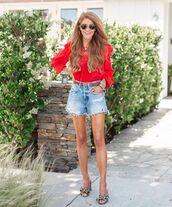 top,blouse,denim shorts,sandal heels