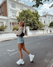 shorts,denim shorts,white sneakers,cropped jacket,black bag