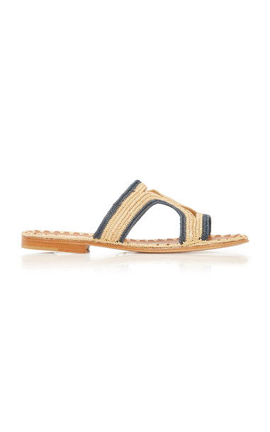 Carrie Forbes Moha Two-Tone Raffia Sandals Size: 35 in navy