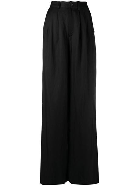 ANINE BING Carla wide-leg long trousers in black