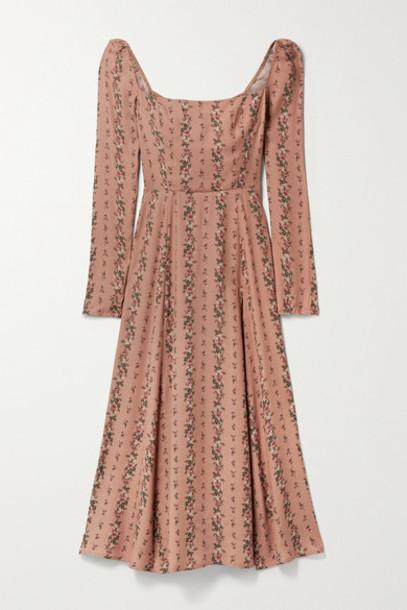 Reformation - Sigmund Shirred Floral-print Georgette Midi Dress - Antique rose