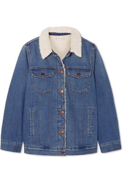 Madewell - Faux Shearling-trimmed Denim Jacket - Mid denim