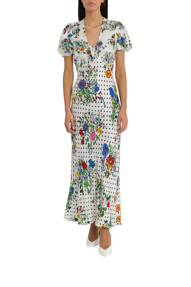 Rixo London Star Tie-front Midi Dress in bianco