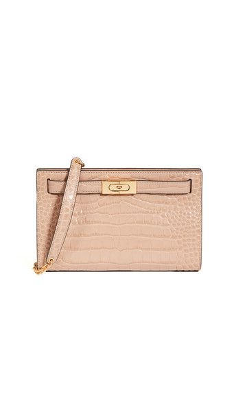 Tory Burch Lee Radziwill Embossed Shoulder Bag in sand