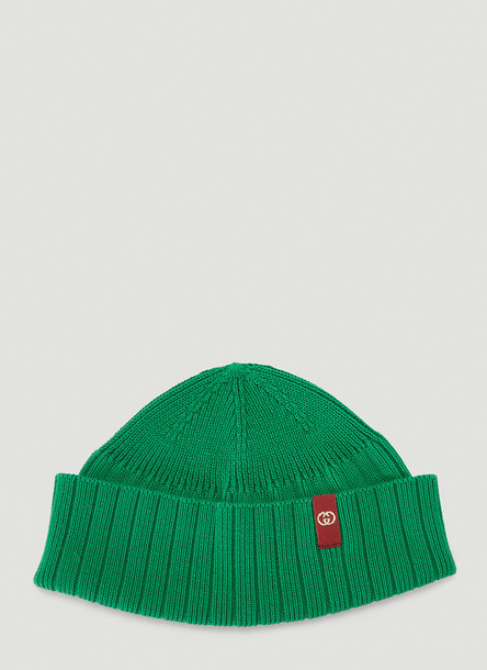 Gucci Fine-Knit Beanie Hat in Green size M