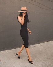 dress,black dress,bodycon dress,black sandals,hat