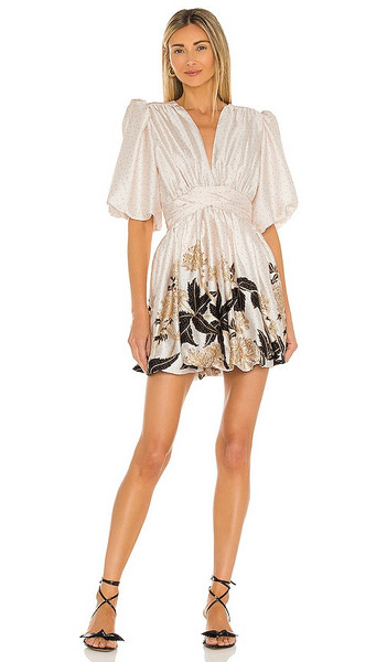 Sabina Musayev Armelle Dress in White in ivory / print