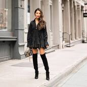 shoes,over the knee boots,black boots,bag,mini dress,black dress,long sleeves,layered