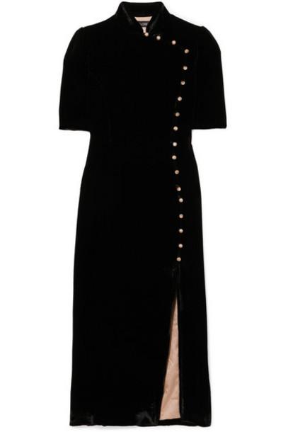 Saloni - Taro Button-embellished Velvet Midi Dress - Black