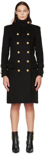 Balmain Black Wool & Cashmere Double-Breasted Coat in noir