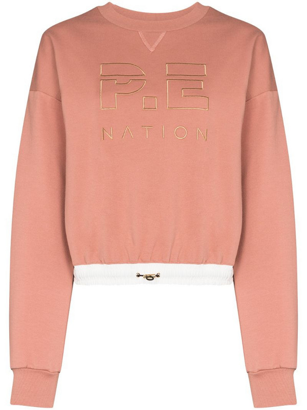 P.E Nation Block Pass logo-embroidered sweatshirt in pink