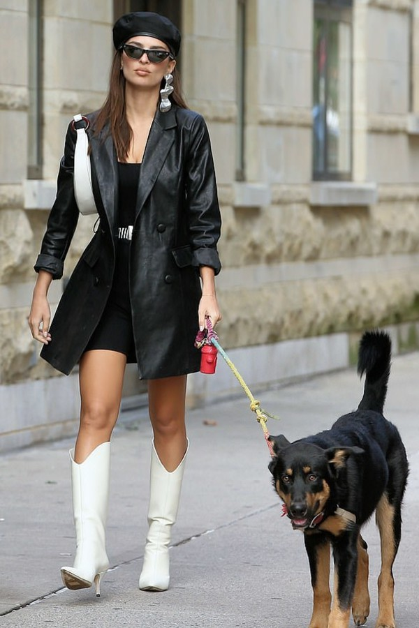 shoes emily ratajkowski model off-duty streetstyle fall outfits leather