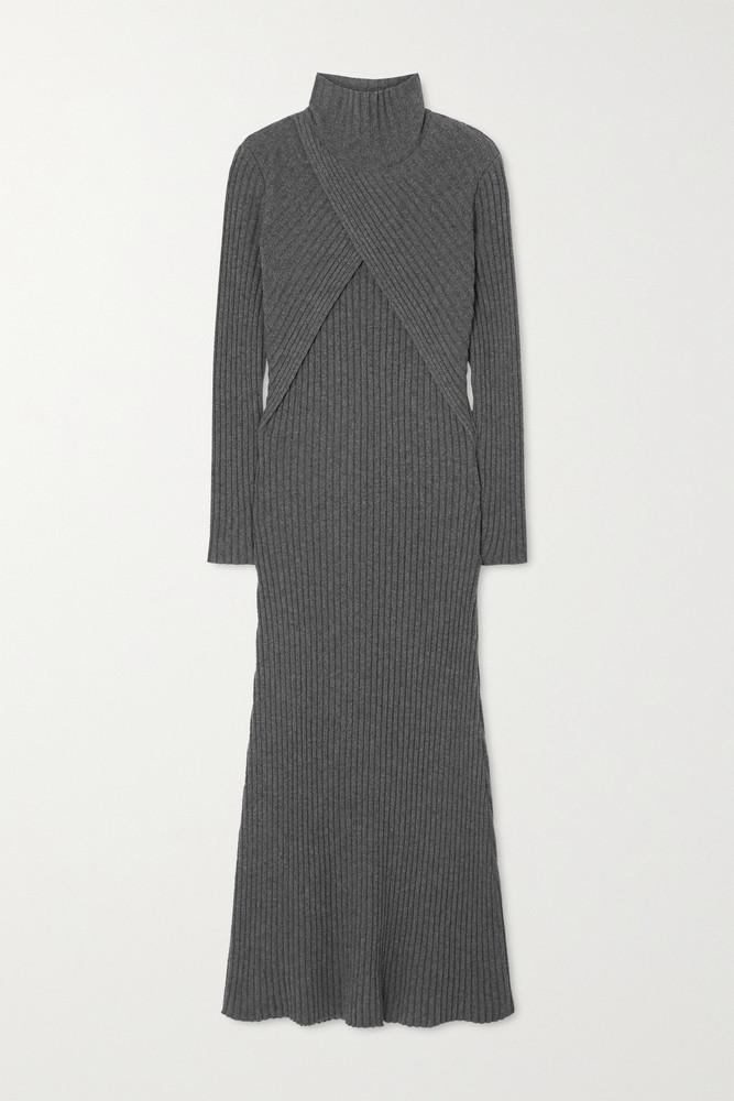 Envelope Envelope1976 - Son Wrap-effect Ribbed Recycled Cashmere-blend Turtleneck Dress - Gray