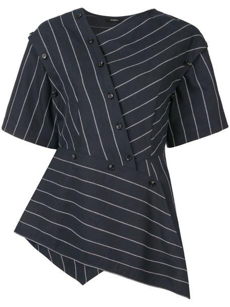 Goen.J asymmetric striped blouse in blue