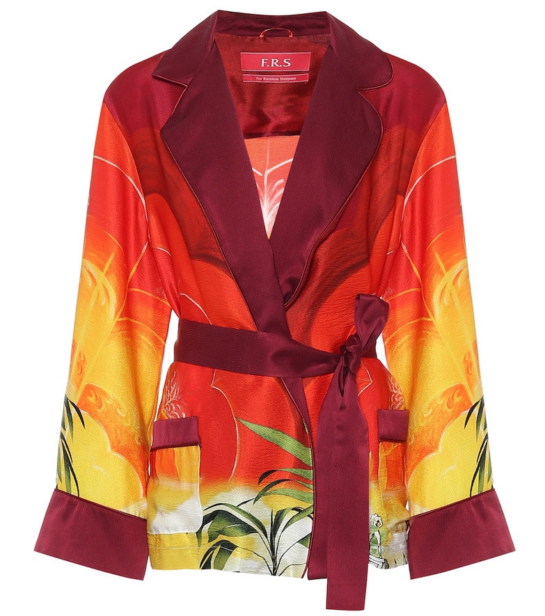F.R.S For Restless Sleepers Giocasta printed silk pajama jacket in red