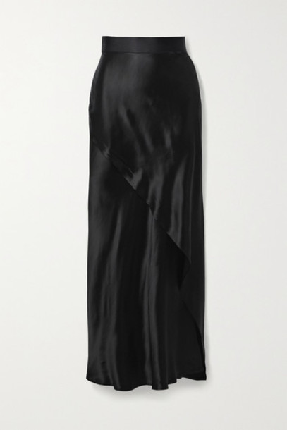 The Range - Wrap-effect Satin Maxi Skirt - Black