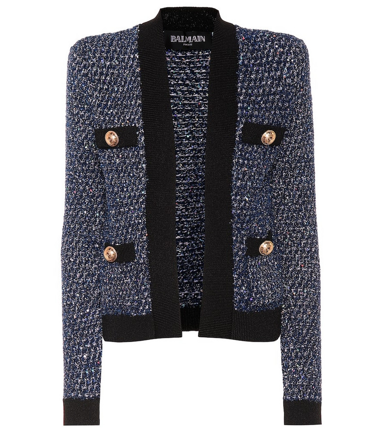 Balmain Sequined tweed jacket in blue