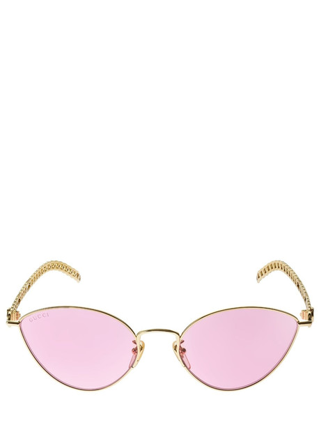 GUCCI Cat-eye Metal Sunglasses W/ Charms in gold / pink
