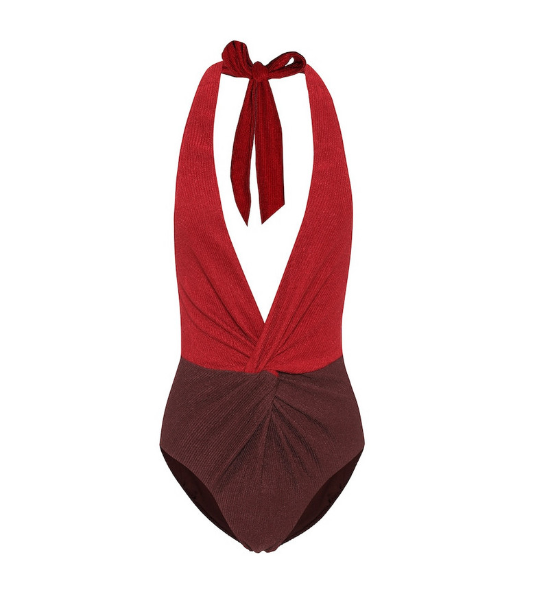 Self-Portrait Colorblocked one-piece swimsuit in red