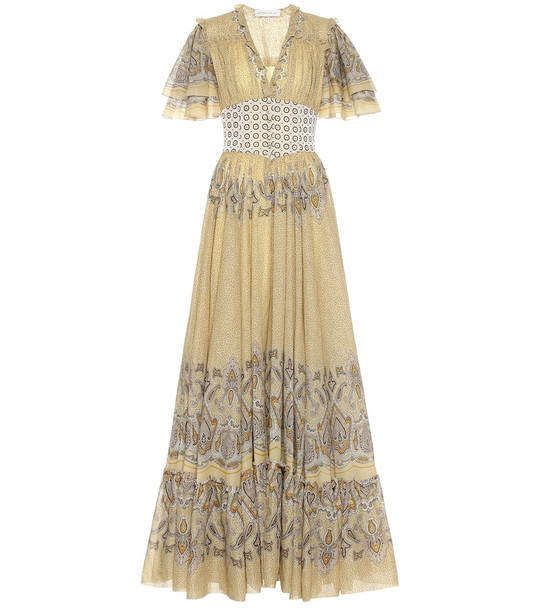 Etro Printed cotton gown in yellow