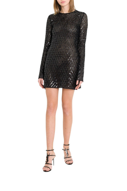 Saint Laurent Sequins Embroidered Knit Minidress in nero