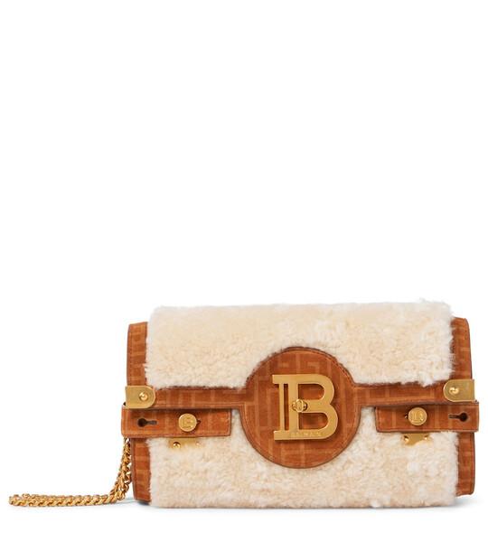 Balmain B-Buzz shearling and suede crossbody bag in brown