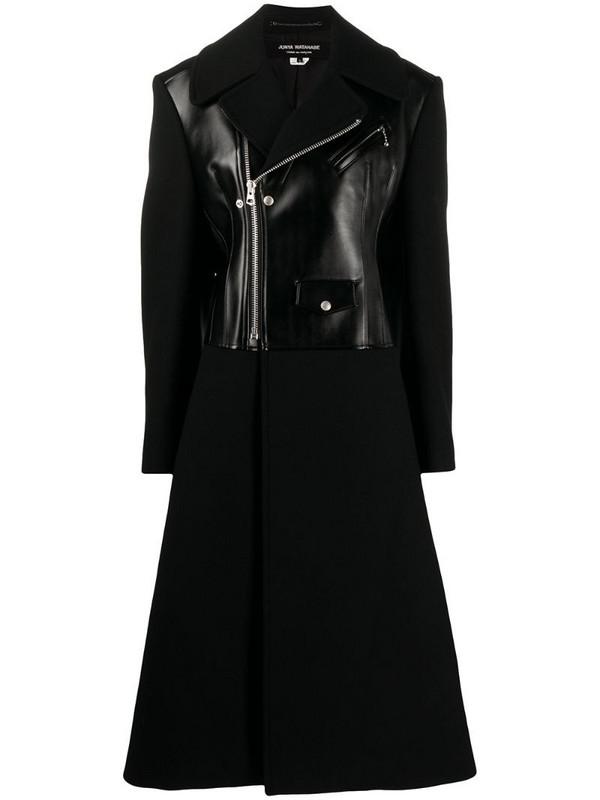 Junya Watanabe biker panel long-length coat in black