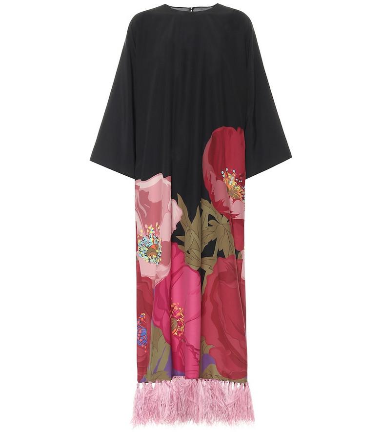 Valentino Printed silk-crêpe gown in black