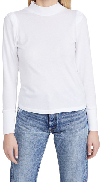 MONROW Mock Neck Shirred Sleeve Top in white