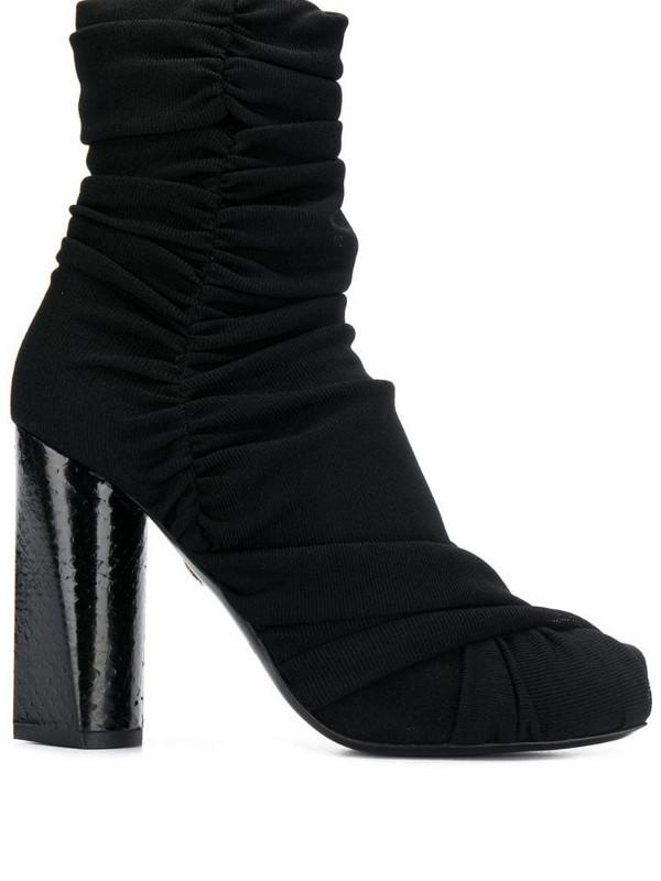 Roberto Cavalli draped design boots in black