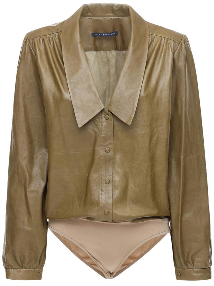ZEYNEP ARCAY Leather Bodysuit W/ Collar in green