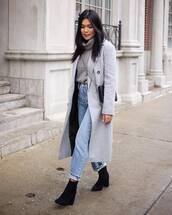 coat,grey coat,long coat,topshop,black boots,ankle boots,mom jeans,high waisted jeans,turtleneck sweater,black bag