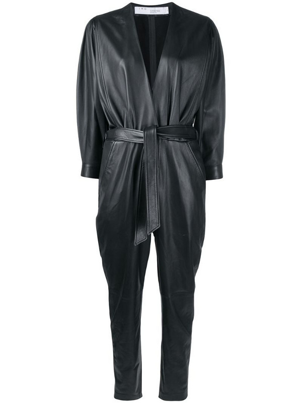 IRO Healy belted leather jumpsuit in black