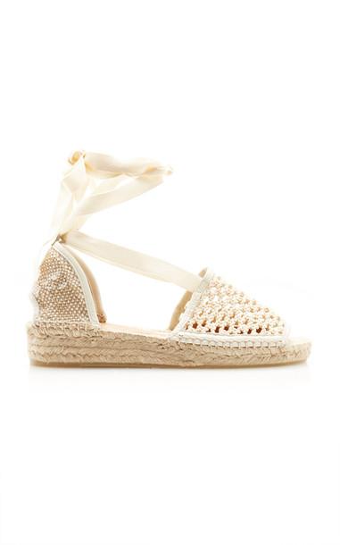 Castañer Crochet Lace Up Espadrille Sandals in neutral