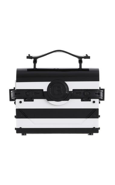 Balmain Bbuzz Striped Miniaudiere 17 Plexiglass Top Handle Bag in black