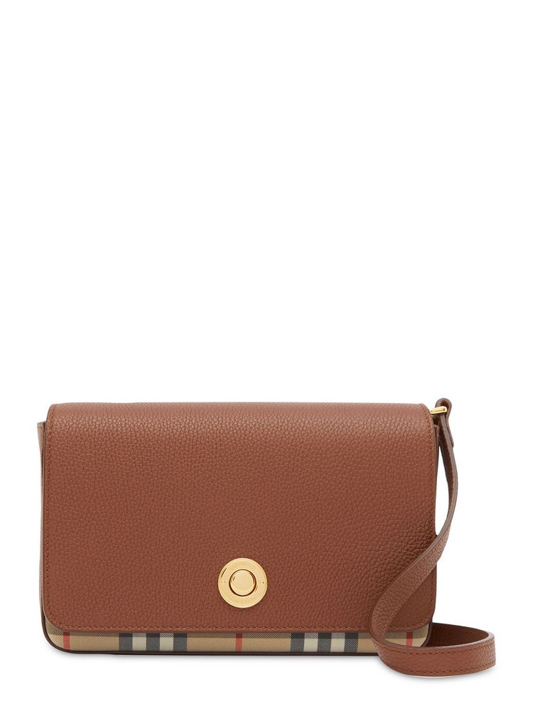 BURBERRY Hampshire Check & Leather Shoulder Bag in tan