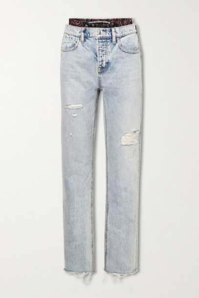 Alexander Wang - Layered Distressed High-rise Straight-leg Jeans - Light denim
