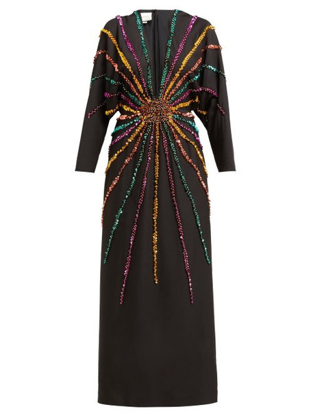 Gucci - Sunray Sequinned Silk Crepe Gown - Womens - Black Multi
