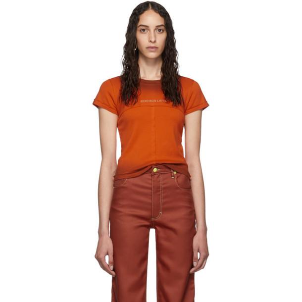 Eckhaus Latta Orange Lapped Baby T-Shirt