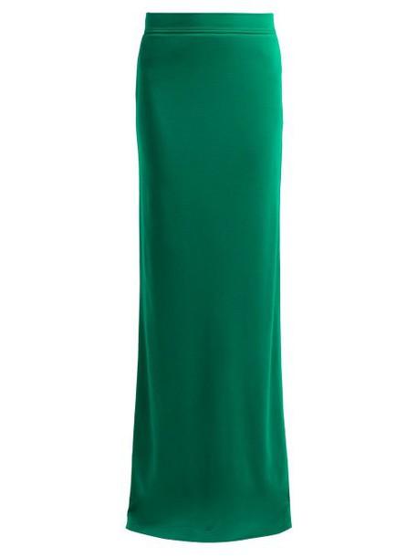 Calvin Klein 205w39nyc - Slit Hem Wool Jersey Maxi Skirt - Womens - Dark Green