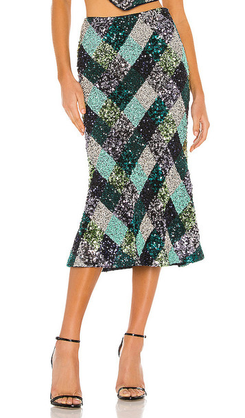 Song of Style Flint Midi Skirt in Black,Green