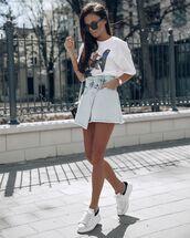 shorts,denim skirt,mini skirt,white sneakers,white t-shirt,bag