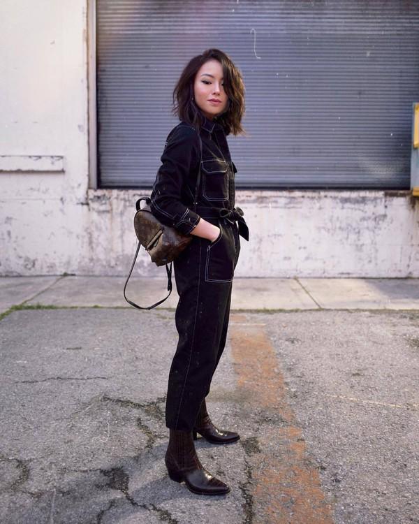 jumpsuit black jumpsuit topshop brown boots cowboy boots brown bag louis vuitton bag backpack