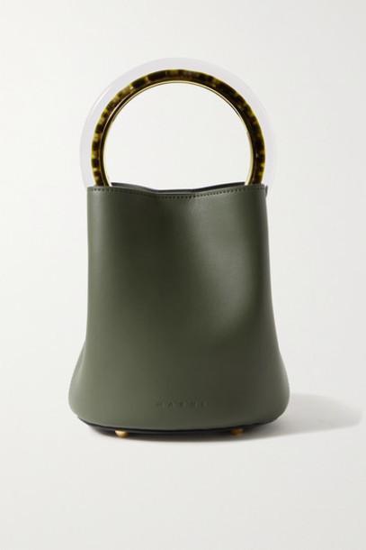 Marni - Pannier Small Leather Bucket Bag - Army green
