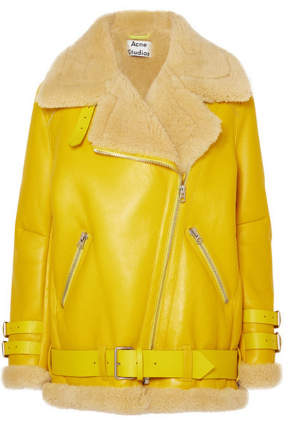 Acne Studios - Velocite Shearling-trimmed Leather Biker Jacket - Yellow