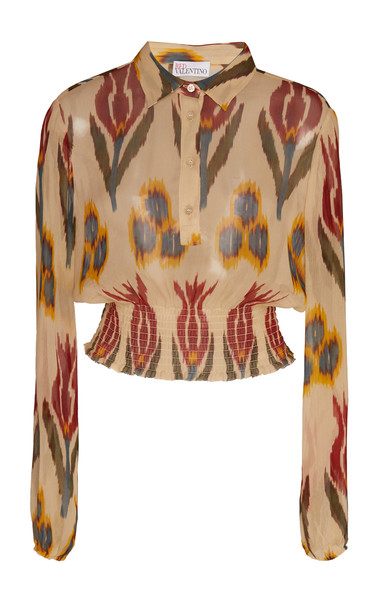 Red Valentino Printed Button-Front Chiffon Top Size: 36 in neutral
